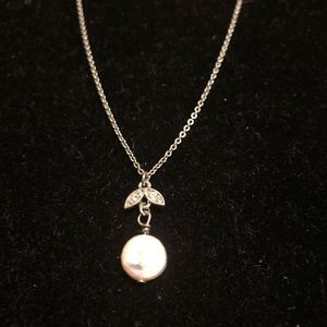 "11"" flat pearl and rhinestone necklace Charming C"